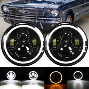 2x Dot 7 Inch Round Led Headlights Halo Ring Hi lo For Ford Mustang F 150 F 100
