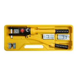 Hydraulic Wire Battery Cable Lug Terminal Crimper Crimping Tool 11 Dies 16 Ton