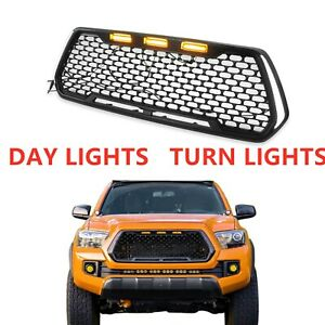Front Bumper Hood Grill Grille W Turning Light For Tacoma Trd Pro 2016 2019 Blk