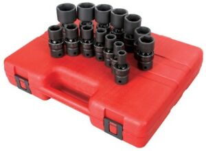 Sunex 14pc 1 2 Sae 6pt Universal Impact Sockets Set Tools Drive Swivel 2644