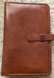 Coach Pocket Planner Organizer 15mm Krause Rings Brown Leather