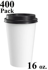 400 Pack 16 Oz Eco Friendly White Poly Paper Hot Coffee Cups W Black Dome Lids