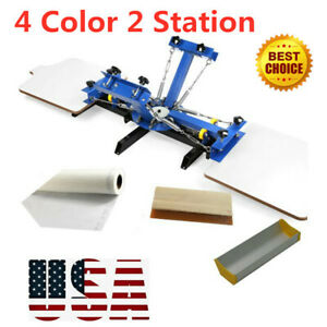 4 Color 2 Station Silk Screen Printing Machine 4 2 Press Diy T shirt Print gifts