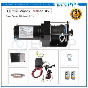 Eccpp 3000lbs Electric Winch Towing Truck Trailer 12m Synthetic Rop Off Road 12v