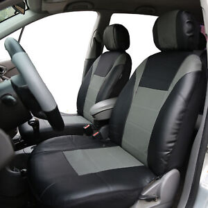 Gray Black Leatherette Car Seat Covers Front Buckets Synthetic Leather Auto