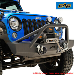 Eag Black Front Bumper With Winch Plate D Ring Fit For 07 18 Jeep Wrangler Jk