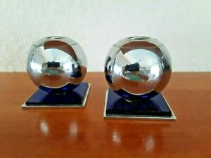 Chase Chrome And Cobalt Blue Candle Holders Very Good Condition Free Shipping