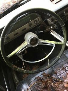 1964 Chevy Chrevrolet Corvair Steering Wheel Black With Horn Ring Nice