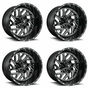 4x Fuel 22 Triton D581 Wheels Gloss Black Milled 22x12 5x4 5 5x114 3 43mm 4 75