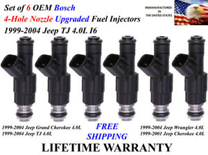 Set Of 6 Upgrade 4 hole Oem Bosch Fuel Injectors For 1999 2004 Jeep Tj 4 0l