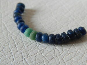 Ancient Roman Beads Of Blue And Green Glass 18 Psc