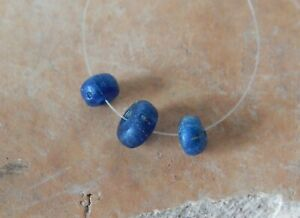 Ancient Roman Beads Of Green And Blue Glass 9 Psc