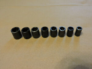 Snap On 8 Pc 1 4 Drive 6 point Metric Shallow Impact Socket Set 8mm 15mm
