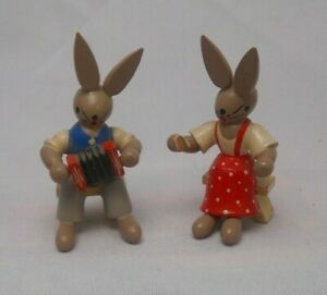 Vintage German Erzgebirge Hand Carved Wooden Figures Rabbits With Instruments