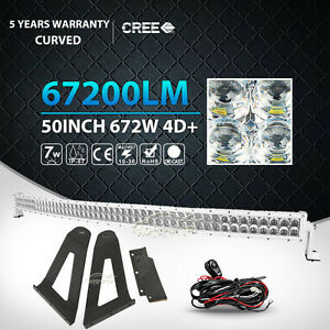 Mounting Bracket Fit For Jeep Cherokee Xj White 50inch 672w Curved Led Light Bar