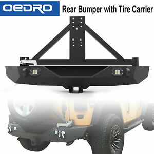 Taoautoparts Rear Bumper W Tire Carrier Led Lights For 07 18 Jeep Wrangler Jk