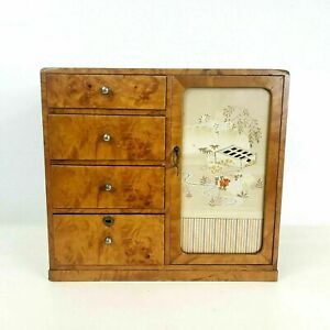 Antique Japanese Burl Jewelry Box Four Drawers Compartment