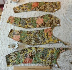 4 Pieces Of French Or Italian 18thc Silk Brocade Fabrics C1780 Excellent Cond