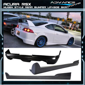 For 05 06 Acura Rsx Mugen Style Rear Bumper Lip Spoiler Pair Side Skirt Pu Dc5