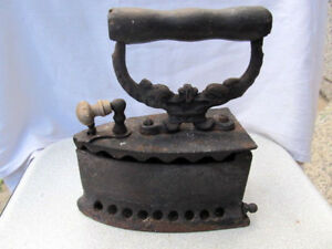 Rare Antique Primitive Old Clothes Iron Coal Hand Forged Wooden Handle 19th