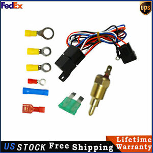 New Electric Cooling Thermostat Relay Fan Kit Sensor Temperature Switch Wiring