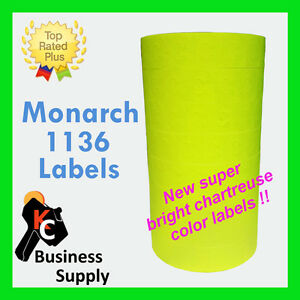 Labels For 1136 Monarch Chartreuse flr Yellow 1 Sleeve ink Included Made In Usa