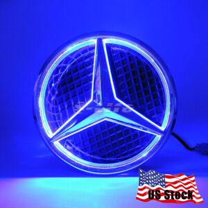 Illuminated Car Led Grille Logo Emblem Light For Mercedes Benz 2013 2016 Blue