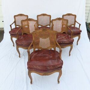 Six French Louis Xvi Style Caned Armchairs Dining Chairs Leather Seats 1950s