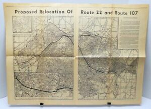 1957 Map Of Proposed Rte 22 Rte 107 New Jersey Plainfield Nj Courier News