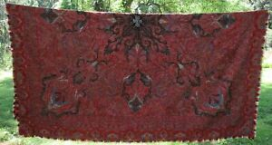 Antique Handmade Kashmir Paisley Shawl 74 X 74 19th Century