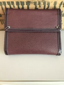 Franklin Covey Burgundy Leather Planner Binder 7 Rings Euc Flap Magnetic Clutch