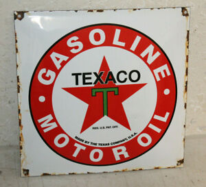 Texaco Gasoline Oil Vintage Style Porcelain Signs Gas Pump Man Cave Station