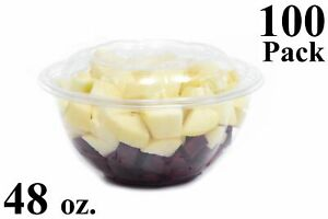 100 48 Oz Clear Plastic Salad Bowls With Airtight Lids Bpa Free Food Containers