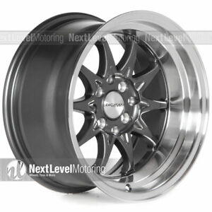 Circuit Cp29 15x8 4 100 4 114 3 0 Gun Metal Wheels Fits Honda Civic Eg Ek Si