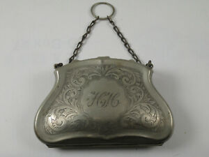 Antique Victorian Chatelaine Coin Case Purse 4 1 2 X 3 Epns W Leather Lining