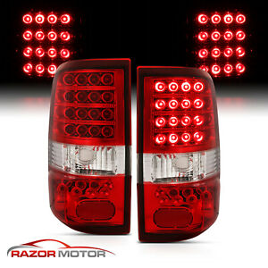 2004 2008 Ford F 150 Pickup Truck Red Clear Led Rear Brake Tail Lights Pair