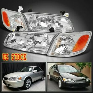 For Toyota 2000 2001 Camry Crystal Clear Headlights Corner Lamps Left Right