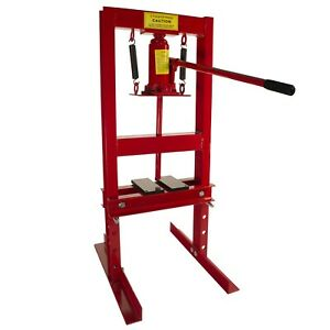 Dragway Tools 6 Ton Hydraulic Shop Floor Press With Press Plates And H Frame