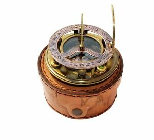 New Mah Steampunk For Solid Brass Sundial Compass In Fitted Wooden Box C 3052