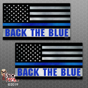 Thin Blue Line Back The Blue Flag Sticker Police Car Truck Vinyl Decal Fs2261