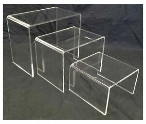 Acrylic Shoe And Merchandise Display Riser Set Of 3 One Each 6x6x4 8x6x6 10x6
