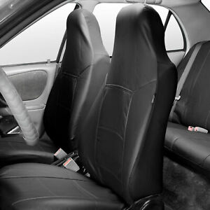 Highback Bucket Seat Covers Set Leather For Auto Car Suv Van Black