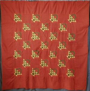 Such Color Pa Antique Turkey Red Calico Basket Quilt Top 79x78