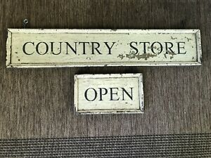 Antique Primitive Wood Country Store Sign Trade Aafa 43 X 9 And Open Sign