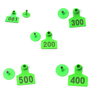 Green 001 500 Number Plastic Livestock Ear Tag Animal Tag For Goat Sheep Pig
