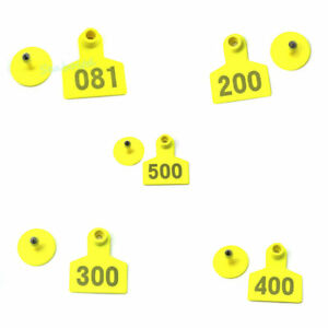 Yellow 001 500 Number Plastic Livestock Ear Tag Animal Tag For Goat Sheep Pig