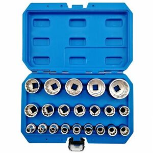 21pcs 1 2 Inch Drive 12 Point Multi tooth 12 edge Nut Deep Impact Socket Set