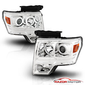 ccfl Halo 2009 2014 Ford F 150 Chrome Projector Headlights 6 Led Drl Set
