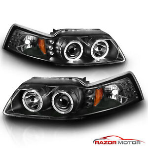 Dual Led Halo 1999 2000 2001 2002 2003 2004 Ford Mustang Projector Headlights
