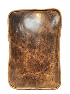 Cofi Distressed Leather Case Organizer Planner Pouch Sleeve Zippered new